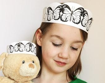 Butterflies Crown Printable - butterfly headband kids craft - kids dress up craft - teddy bear picnic - black white printable