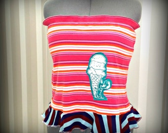 Plus Size Tube Top Ice Cream Shirt Pink Red Shirt Upcycled Clothing Strapless Shirt Women's Ruffle Top Summer Fashion Recycled T-Shirt