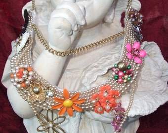 ON SALE NOW--ORANGE SHERBET-Necklace-Handmade By Dawn From Vintage Bits AND Bobs