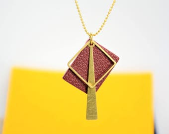 Rectangle Peace Recycled Leather Necklace, statement necklace ,geometric necklace
