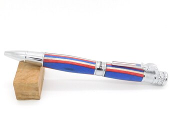 Handcrafted American Patriot Chrome Pen featuring Americana Spectraply; Patriotic Red, White and Blue Handmade Pen; God Bless America Gift