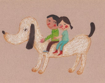 a new adventure- original pastel drawing- kids art- love drawing- two kids- dog drawing- fun drawings- animal children art