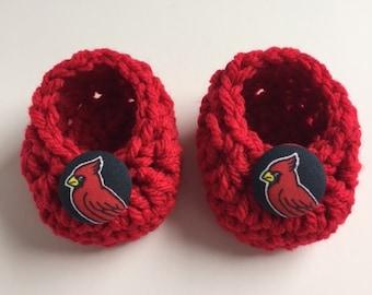 St. Louis Cardinals baby booties, Cardinals baby shower gift, baby shoes, crochet baby booties, booties for baby, crochet baby shoes