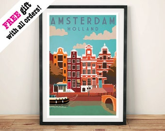 AMSTERDAM TRAVEL POSTER: Vintage Holland Art Print Wall Hanging