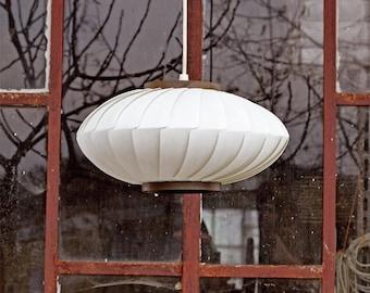 Beautiful white danish hanging lantern. Mid century modern danish ceiling lamp.