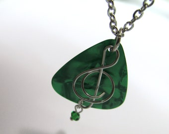 Guitar Pick Necklace with a wire wrapped stainless steel treble clef music note on stainless steel chain