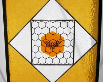 bee on honeycomb fused glass panel set in stained glass window, hand painted, one of a kind, heirloom quality
