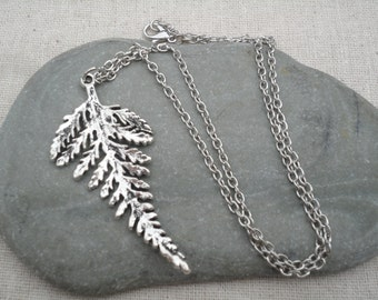 Silver Fern Leaf Necklace - Leaf Pendant - Silver Jewelry - Nature Inpsired