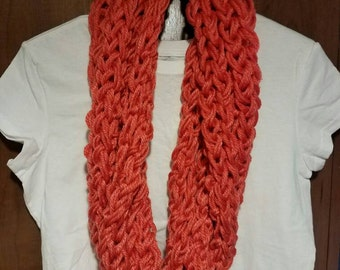 Coral colored long infinity scarf!