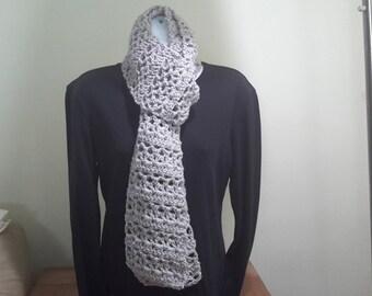 Metallic Grey Crocheted Scarf