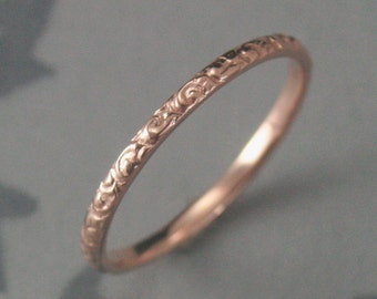 Thin Rose Gold Wedding Ring--14K Rose Gold Rococo in the Disco Wedding Band--Solid 14K Gold Swirl Patterned Ring Custom made in YOUR Size