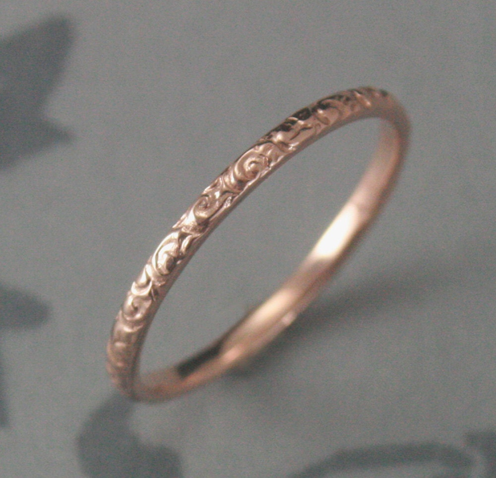 solid wedding thin rose bands twisted twist gold minimalist ring dainty yellow band