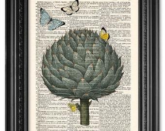 Artichoke with butterflies, Dictionary art print, Vintage book art print, Vegetable print, Kitchen wall Decor, Gift poster [ART 089]