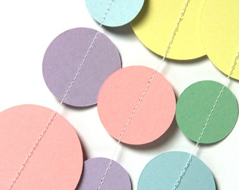 Pastel Rainbow circle garland (18 feet) - READY TO SHIP