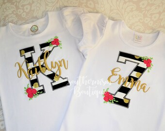 Girls Birthday Shirt, Monogram Birthday, Birthday Shirt, Gold Birthday Shirt, Personalized Birthday, Floral Birthday Shirt, Black and White