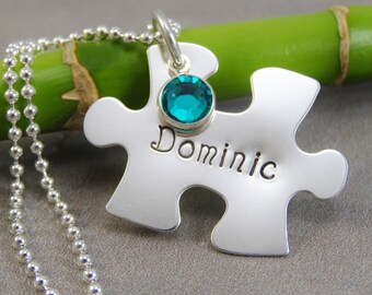 Autism Jewelry - Hand Stamped Jewelry - Personalized Jewelry - Mom Necklace - Sterling Silver - Large Puzzle Piece