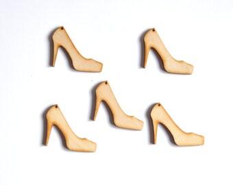 Shoes Shape. Unfinished Wooden Ornament. Wooden Shape. Set of 5 pieces #AUSK054