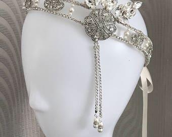 Great Gatsby headpiece - 1920s headpiece -Flapper Headpiece - Gatsby head piece -1920s Art deco style flapper -headpiece - Wedding Headband