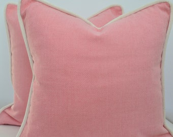 Pink  Pillow Cover with Piping, Pillow with Piping, Pink Pillow Cover