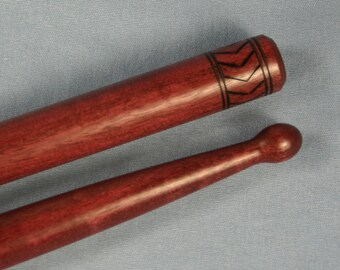 Handmade Custom Drumsticks Personalized with Your Text Woodburned by Hand Made from Purpleheart Wood