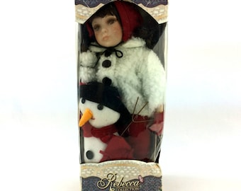 Rebecca Mamoure Porcelain Doll & Snowman Elby Canada Vintage Winter Collection