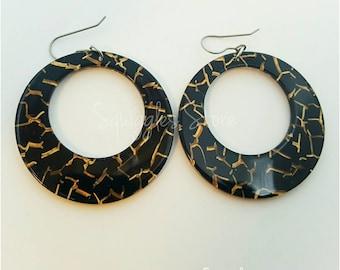 Flash Sale! Fierce Dangle Earrings Titanium Posts Sensitive Ears Black Gold FREE standard shipping Australia Only