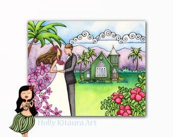 Tropical Garden Wedding Bride Groom Artwork Painting Hawaiian Hawaii Kauai Beach Island Summer Church Love Wall Art Print