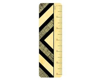 Half Diamond Ruler - Real Birch Wood Ruler & Bookmark - WM2125