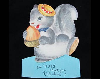 Vintage large 8x6 Squirrel Valentine Card with plastic eye - 1940s