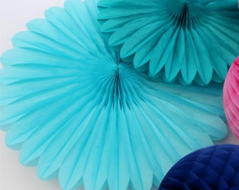 Tissue paper fans  weddings birthday decoration  baby shower baby blue