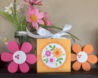 Three Flowers  (Green) 4x4 Wood Block
