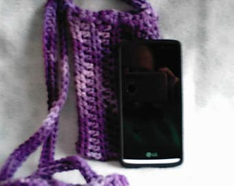 Crocheted Purple Varigated Cross Body Cell Phone Pouch Cozy
