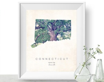 Connecticut | State Tree Map Art, State Map Print, Map Poster, Wall Art, Art Print  | Home or Office Decor, Gift for Nature Lover