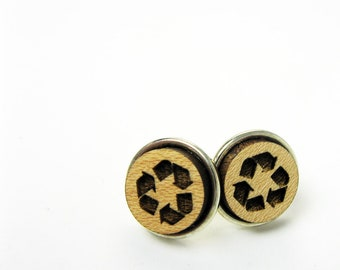 Recycled Earrings - Small Wood Post Earrings With Recycling Arrows or Recycle Symbol - Earth Lover Jewelry