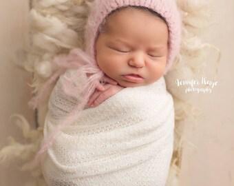 Pink Alpaca yarn bonnet, Pink baby girl bonnet, Knit newborn photo prop