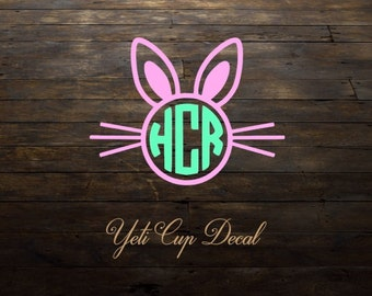 Easter Bunny Cup Decal, Personalized Cup Decal, Decal, Monogram Tumbler Decal, Gift, Cute Cup Decal, Easter Basket, Kids Cup Decal, Sticker