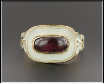 Antique Georgian Ring   White Enamel & Garnet Ring   Antique Garnet Ring   18k Gold Garnet Ring   Mourning Ring   White Enamel Ring