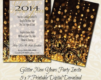 Golden Glitter New Years Eve Invitation | New Year Invitation | New Years Party Invitation with FREE SHIPPING