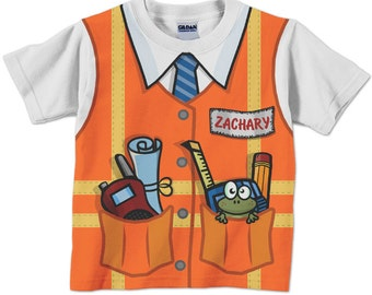 Construction Birthday Shirt, Personalized Childrens Construction Supervisor T-Shirt, Boy's Orange Safety Vest Shirt