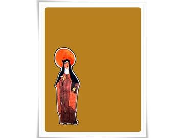 Modern Catholic St. Saint Teresa of Avila Art Painting Art Poster Illustration Religious Meditation Decor Contemporary