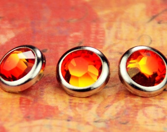 10 Fire Opal Crystal Hair Snaps - Round Silver Rim Edition -- Made with Swarovski Crystal Element Rhinestones