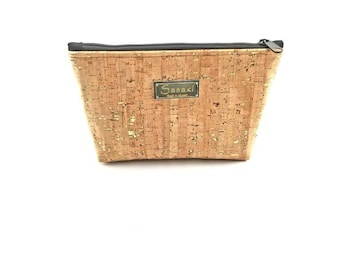 "9"" x 5"" - Natural Cork with Gold Metallic Flecks  - Gadget Bag - zipper pouch - Bag organizer"