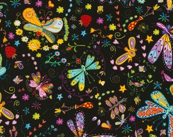 Timeless Treasures - Marti  - C5456 - Black  - Butterflies - Dragonglies - Flowers -  Fabric by Yard
