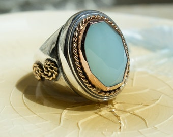 Silver Gold ring, jade ring, boho chic ring, statement engagement ring, bohemian ring, twotone ring, cocktail ring - Out of reach R2178