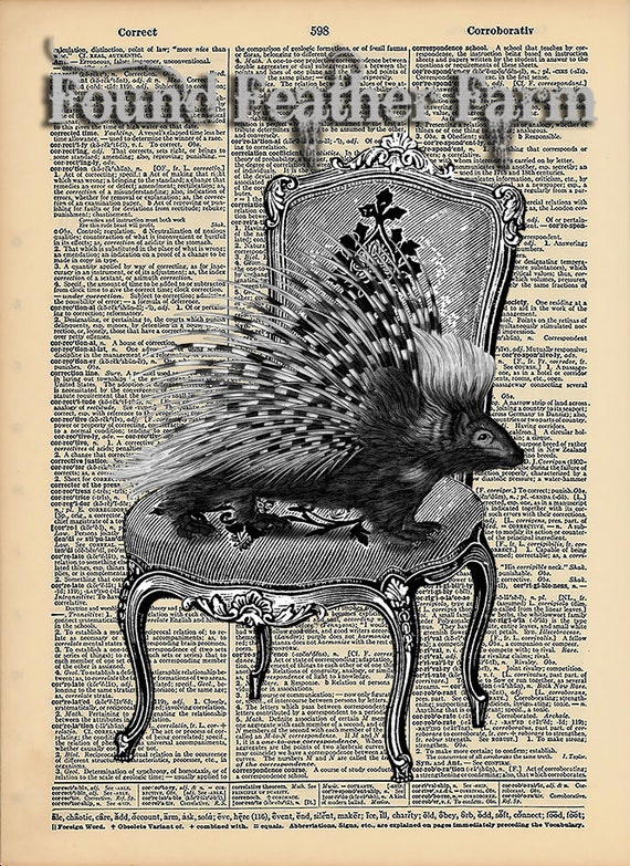 "Vintage Antique Dictionary Page with Antique Print ""Take a Seat"""