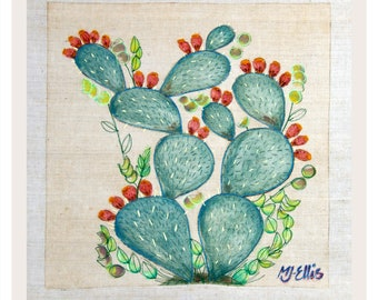 printmaking, textile art, prickly pear, cactus, square print, nature print, botanical print, embroidered art, embroidery, collagraph