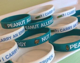 Peanut allergies, allergy bracelet, kids allergy jewelry, tree nut allergy, medical id, nut allergy, food allergy