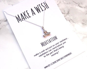 Meditation yoga simple necklace, dainty delicate silver wish necklace, minimalist necklace, everyday necklace, spiritual necklace