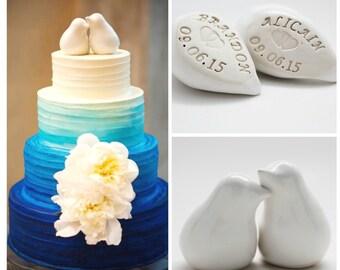 Personalized Cake Topper Birds, Anniversary Gift, Handmade Pottery Cake Topper