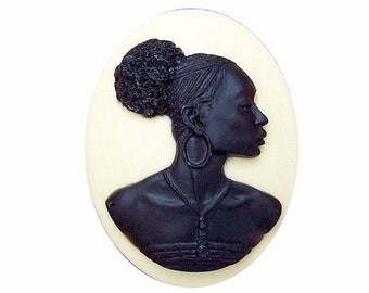 Black and CREME ( OFF WHITE)  ethnic Cameo 40x30mm Afro Centric tribal jewelry Africa cabochon African American woman Blackamoor Nubian718x